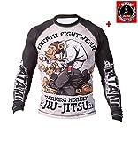Camiseta funcional Tatami Rashguard Thinker Monkey para BJJ y MMA, color Negro , tamaño large