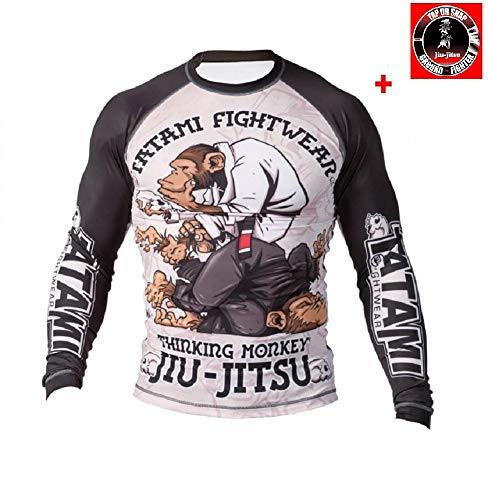 Tatami Rashguard Thinker Monkey - Funktionsshirt, BJJ MMA Compression Grappling Shirt (XL)
