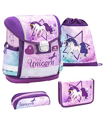 Belmil Schulranzen Set 4 - teilig ergonomischer Schulranzen Mädchen 1. klasse 2. klasse 3. klasse - Super Leicht 860-950 g/Grundschule/Einhorn, Unicorn/Lila, Purple (403-13 Unicorn)