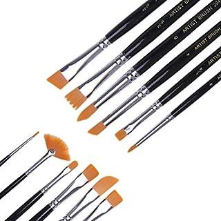 12 Pcs Art Oil Acrylic Watercolor Paint Brush Set Palette Acrylic Drawing Brushes Art Supplies