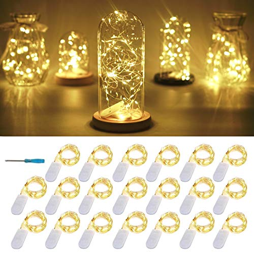 20 Packs Fairy String Lights, 6.6FT 20 LEDs Battery Operated Silver Copper Wire Starry String Light for DIY Party Christmas Costume Wedding Easter Table Decorations (Warm White)
