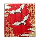 CPYang Duschvorhänge Krane Kirschblüten Ahorn Wasserdicht Schimmelresistent Badevorhang Badezimmer Home Decor 168 x 182 cm mit 12 Haken
