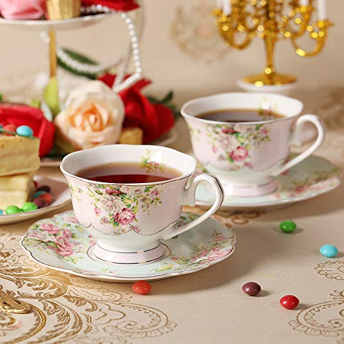Pulchritudie Fine China 4-Piece Tea Cup and Saucer Set, Pink Azalea, Set of Two