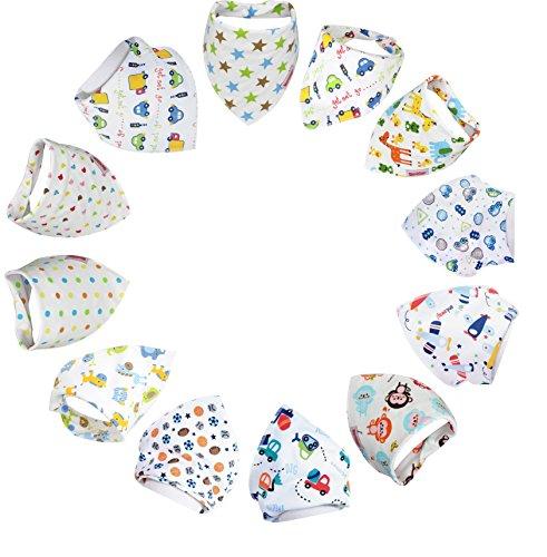 Bebedou 12 PACK jongens Super Absorbent Pure Katoen Stijlvolle Bandana/Dribble Bib dieren dierentuin bos ontwerp voor Babies en Peuter. Pasgeboren Gift pack baby douche