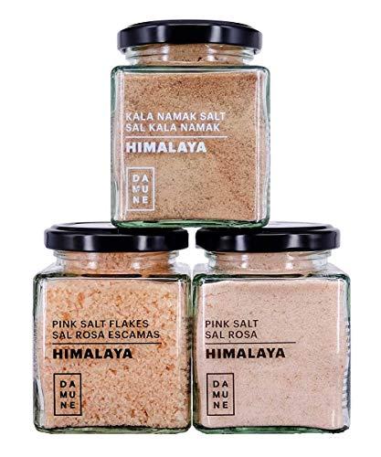 Sal Gourmet Himalaya: Sal Rosa (200g), Sal Rosa Escamas (100g) y Sal Kala Namak (200g)
