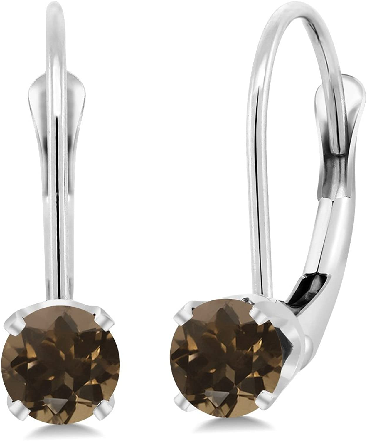 0.52 Ct Round Brown Smoky Quartz 14K White gold Earrings