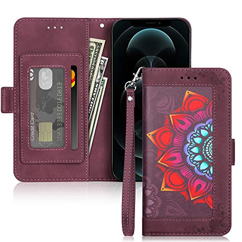 ELOVEN Wallet Case Compatible with iPhone 12 Pro Max Case PU Leather Flip Case Magnetic Closure Stylish Flower Protective Cover Card Holder Case Compatible with iPhone 12 Pro Max 6.7 inch Wine Red
