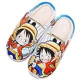Zapatillas Hombre Monkey D. Luffy One Piece Anime Japonés Dibujos Animados Mujer Invierno CáLido Zapatos Memory Foam Casa Antideslizante Algodón Pantuflas,43/45 EU