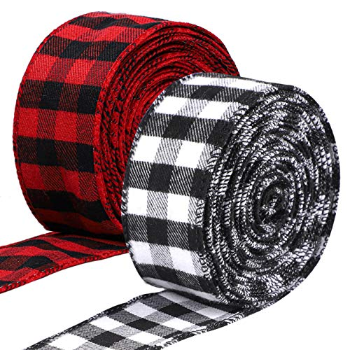 URATOT 2 Rolls Christmas Plaid Burlap Ribbon Christmas Wired Ribbon Gift Wrapping Ribbon for Christmas Tree Crafts Decoration, Floral Bows Craft (3.8 cm x 8 m, Red and Black,Black and White)