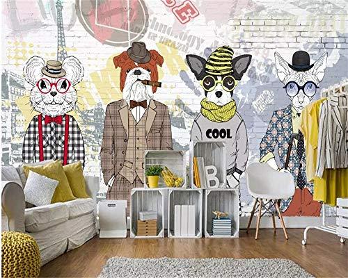 3d papier peint murale peint à la main abstrait animal Cartoon chien vêtements magasin fond mur décoratif papier peint(À partir de 1 mètre carré)-1㎡
