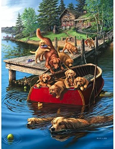 Puzzle 500 Teile Retriever am See (Dog Paddle)
