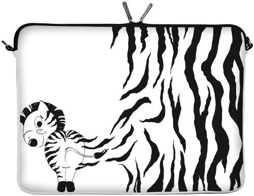 Digittrade LS111-11 Zebra Designer Schutzhülle für Laptops und Netbooks mit einer Bildschirmdiagonale von 29,5 cm (11,6 Zoll) weiß-schwarz
