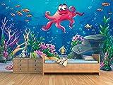 Fotomural Vinilo para Pared Pulpo Fondo Marino| Fotomural para Paredes | Mural | Vinilo Decorativo | Varias Medidas 200 x 150 cm | Decoración Habitaciones | Infantiles
