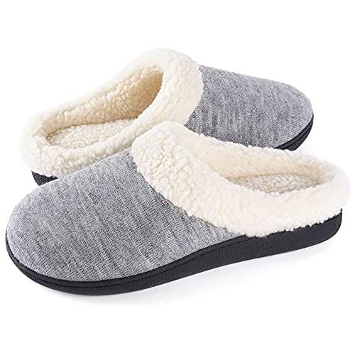 Wishcotton Lady's Sherpa Fleece House Slippers with Memory Foam, Morning Mist Grey, 6-7 UK