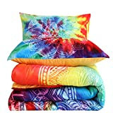 WoShuo Tie Dye Comforter Set Queen, Boho Floral Green Yellow Purple Bohemian Luxury Bedding, 3 PCS One Comforter and Two Pillow Shams Microfiber Soft Breathable Quilt (Queen, 3 PCS)