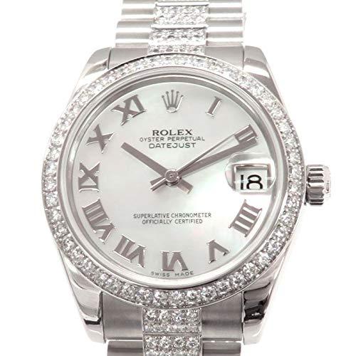 ロレックス ROLEX デイトジャスト ベゼル・ブレスダイヤ 178286NR ホワイトローマ文字盤 中古 腕時計 レディース (W165468) [並行輸入品]