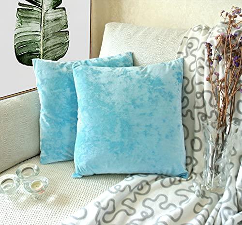 [Amazonブランド] Umi.(ウミ) クッションカバー 正方形の柔らかで豪華な北欧ファッション枕カバーセットによって、家と部屋を飾って寝室のソファーに適用されます 45*45cm 空色 2枚