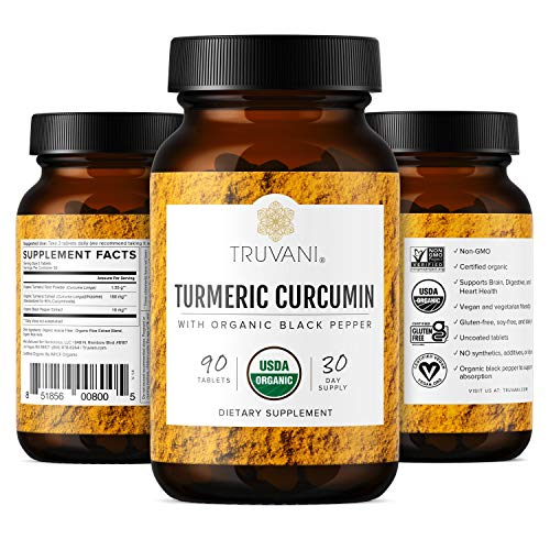 TRUVANI Organic Turmeric Curcumin (1,350mg)   Turmeric Root Powder - with Black Pepper to Support Absorption   Anti-Inflammatory, Joint Support & Stress Relief Supplement   30 Servings
