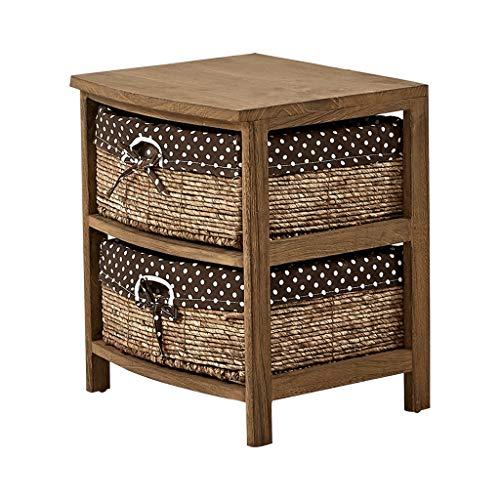Tafel nachtkastje Effen hout landelijke rotan opbergkast Eenvoudige Locker Slaapkamer kast Vloerkast Ladekast