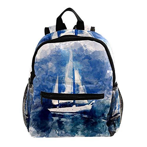 Aquarell-Boot Kinder Rucksack Leichte Schultasche Voller Druck Für Vorschulkind 3-8 Jahre Baby Tasche Windel Milchpulver Rucksack 25.4x10x30 cm