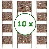 BOGATECO 10 x Beeteinfassung aus Weide | 60 cm Lang & 60 cm Hoch | Holz-Zaun Rasenkante | Weiden-Zaun Steckzaun Perfekt für den Garten als Weg-Abgrenzung