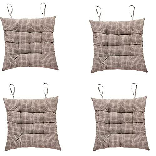 ZLJ 4 Pezzi Cuscini per sedili Cuscini per sedili con Cinghie Cuscini per sedie Cuscini per sedie Cuscini per sedie a Righe per Giardino Home Office Auto 38 * 38 CM (Marrone Chiaro)