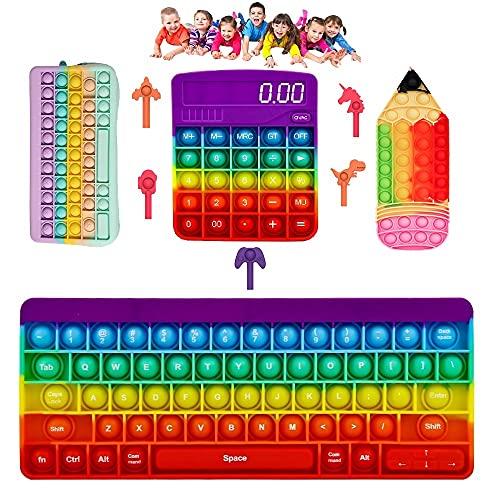 nvIEFE TikTok Fidget Toys Pack,Estuche para lápices, calculadora de teclado de burbujas push Mini Pop Pen Cap, suministros escolares para niños alivio del estrés (Pack A2)