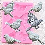 FGHHT Moldes de Silicona para pájaros3D paradecoración de Pasteles, Molde para Fondant, moldes para Pasta de Goma, Caramelo, Chocolate, Arcilla para Hornear, Magdalenas