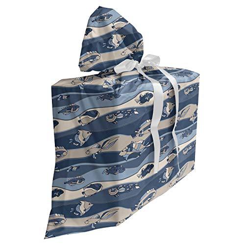 ABAKUHAUS Vis Cadeautas voor Baby Shower Feestje, cartoon Aquarium, Herbruikbare Stoffen Tas met 3 Linten, 70 cm x 80 cm, Slate en Cadet Blue Tan
