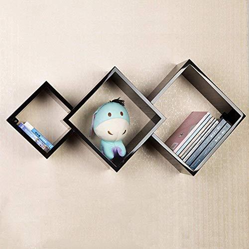 Drijvende planken, wandplank, houder, opslagplank, Woody Lattice, creatieve woonaccessoires, eenvoudige mode, multifunctioneel, 4 kleuren, 62 5 x 70 cm (kleur: wit) zwart