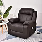 Recliner Chair Sleeper Reading Chairs for Bedroom PU Leather Recliner Chairs for Living Room Theater Seating Power Recliner with Heat and Massage (Brown-PU)