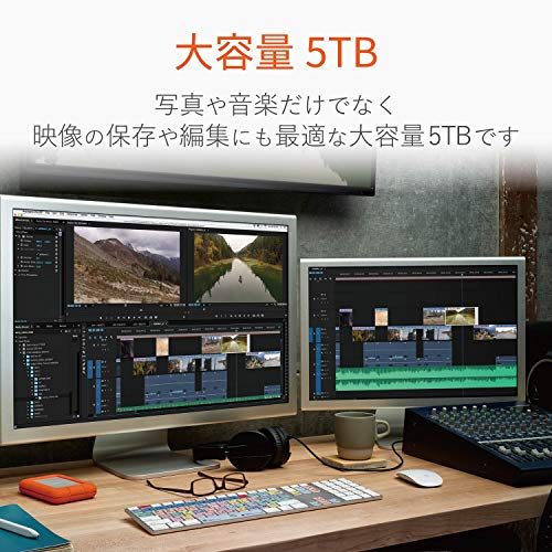 LaCieHDDポータブルハードディスク5TBRuggedThunderboltUSBタイプC耐衝撃3年間保証STFS5000800