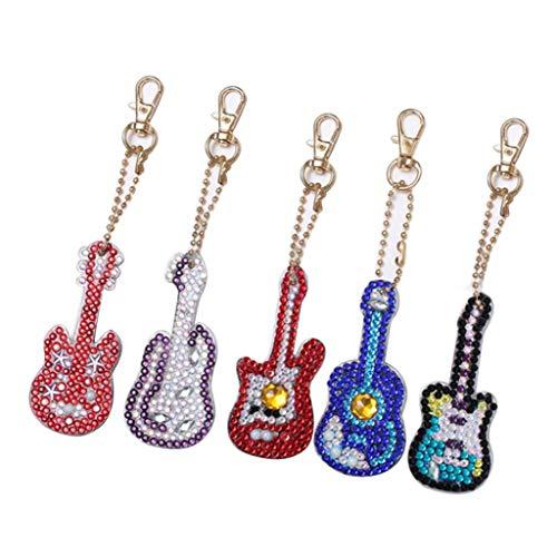 bismarckber 5 Stück DIY Gitarre Form Diamant Malerei Schlüsselanhänger Charm Tasche Anhänger Auto Schlüssel Dekor