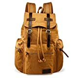 GEARONIC TM Men 21L Vintage Canvas Backpack Leather Laptop School Military Yellow Size: L