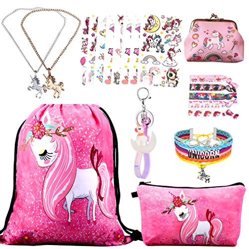 RLGPBON Gift for Girls Sequin Drawstring Backpack with Cosmetic Pencil Zipper Bag Bracelet,Sequin Headband ect,