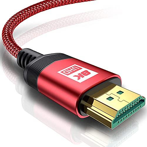 Cable HDMI 8 K,AviBrex,8 K a 60 Hz,18 Gbps,cable HDMI 2.0 de alta velocidad,trenzado de nailon,conectores dorados con Ethernet y canal de retorno de audio,compatible con vídeo 4 K UHD 2160p,HD 1080p