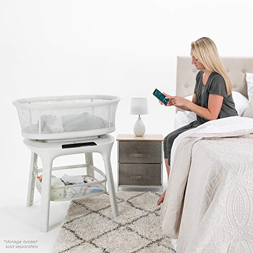 4moms mamaRoo Sleep Bassinet, Bluetooth Baby Bassinets and Furniture with 5 Unique Motions, 4 Built-in White Noise Options, Birch