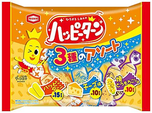 亀田製菓 ハッピーターン 3種のアソート(ハッピーターン・チーズ味・焼きとうもろこし味) 140gX12袋
