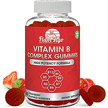 Vitamin B Complex Gummies: Vitamin B12, B7 (Biotin), B6, B3 (Niacin), B5, B6, B8, B9 (Folate). Supports Prenatal- Vegan Diet- Older Adults - Hair Skin Nails - Energy - Strawberry- Two Month Supply