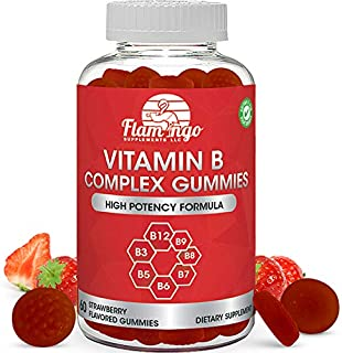Vitamin B Complex Gummies: Vitamin B12, B7 (Biotin), B6, B3 (Niacin), B5, B6, B8, B9 (Folate). Supports Prenatal- Vegan Diet- Older Adults - Hair Skin Nails - Energy - Strawberry- Two Month Supply