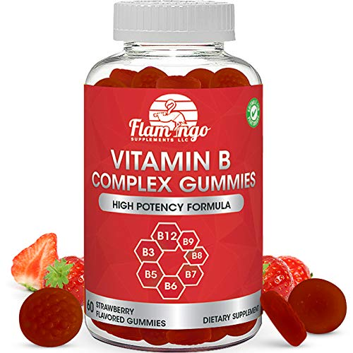 Vitamin B Complex Gummies: Vitamin B12, B7 (Biotin), B6, B3 (Niacin), B5, B8, B9 (Folate). Supports Prenatal- Vegan Diet- Older Adults - Hair Skin Nails - Energy - Strawberry- Two Month Supply
