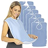 Vive Adult Bibs (6 Pack) - Waterproof Apron Set for Men, Women for Eating with Adjustable Strap - Washable Reusable Large Terry Cloth for Elderly, Seniors and Disabled - Extra Long Clothing Protector