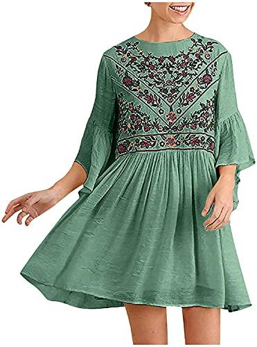 LYDIANZI Mujeres Casual Suelto Bohemio Manga Corta Empalme Vestido De Bordado Maxi Verano Playa Columpio Vestido Corto Suelto Ajuste Vestido Embarazada(Size:XX-Grande,Color:Verde)