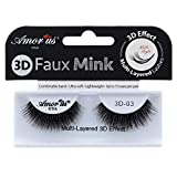 Amorus 3D Hand made Faux Mink Lashes #16 Black Nature fluffy light Reusable (12 pack)