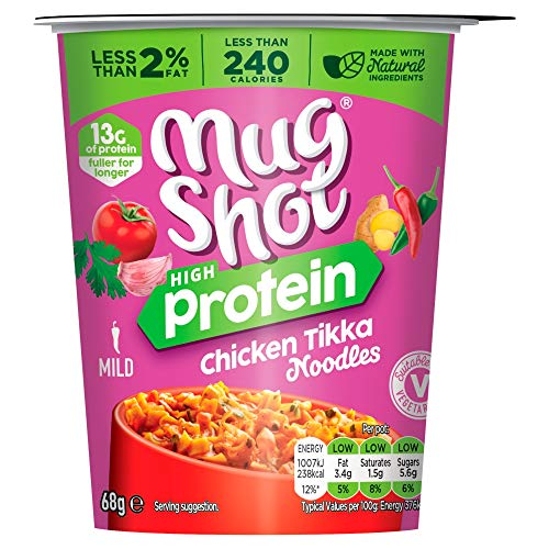 Mug Shot High Protein Chicken Tikka Noodles Protein Pot, 68g (Pack of 6 Pots)