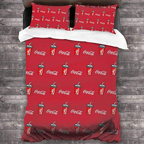 KDRW Soft Drink Red Coke Straw Duvet Cover Bedding Sheet Set, 3 Piece Set Comfy (Duvet Cover + 2 Pillowcases)