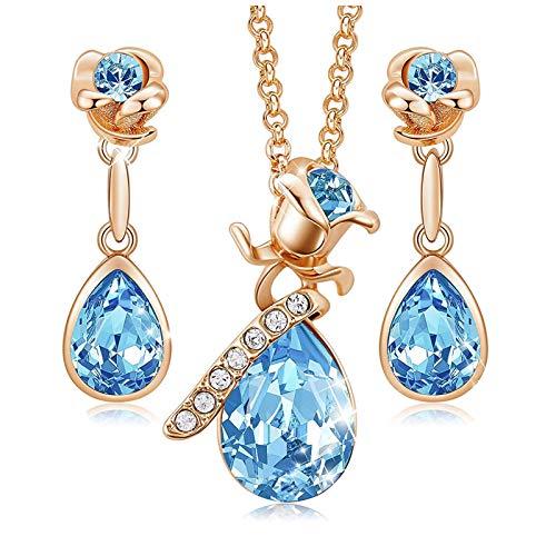 MINCHEDA Collar y Pendientes Conjunto de Joyas de Cristal...