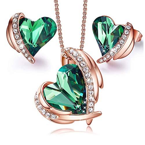 MINCHEDA Conjunto Pendientes Collar para Mujer - Forma de Corazón de Cristales con Caja de Regalo para Día de San Valentín
