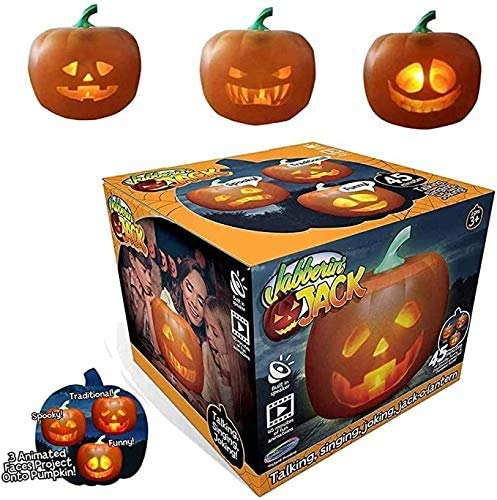 2020 Halloween Talking Animated Pumpkin with Built-in Projector & Speaker, 3-in-1 LED Pumpkin...