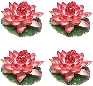 Herxuhouse 4 Pieces Floating Flower Floating Pond Decor Water Flower Foam Artificial Lotus for Home & Party Decoration & H...